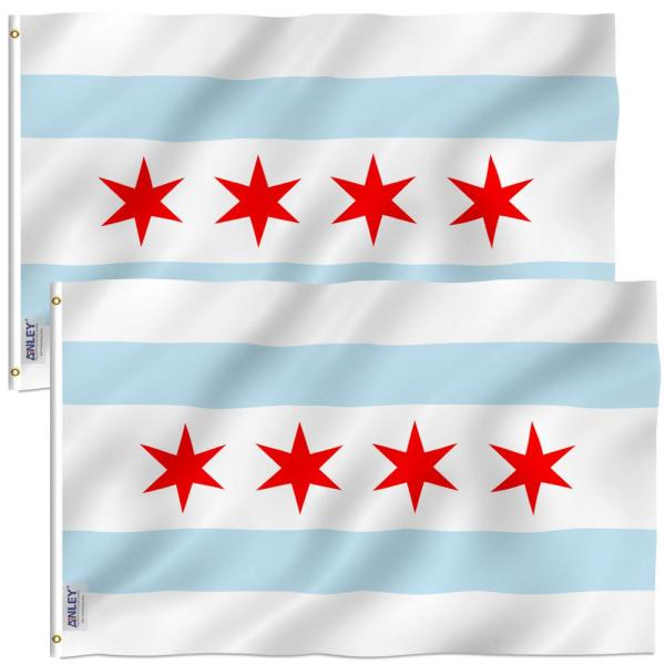 Anley Fly Breeze 3 Ft X 5 Ft Polyester City Of Chicago Flags 2 Sided Flag Banner With Brass Grommets 2 Pack A Flag Cityofchicago 2pc The Home Depot