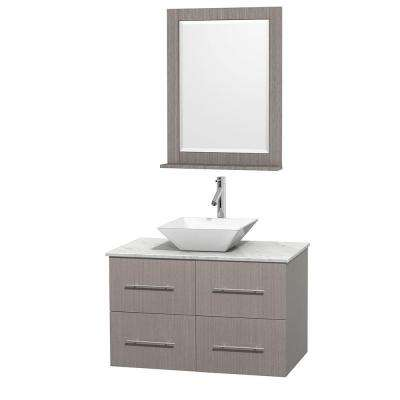 Centra 36 in. Vanity in Gray Oak with Marble Vanity Top in Carrara White, Porcelain Sink and 24 in. Mirror