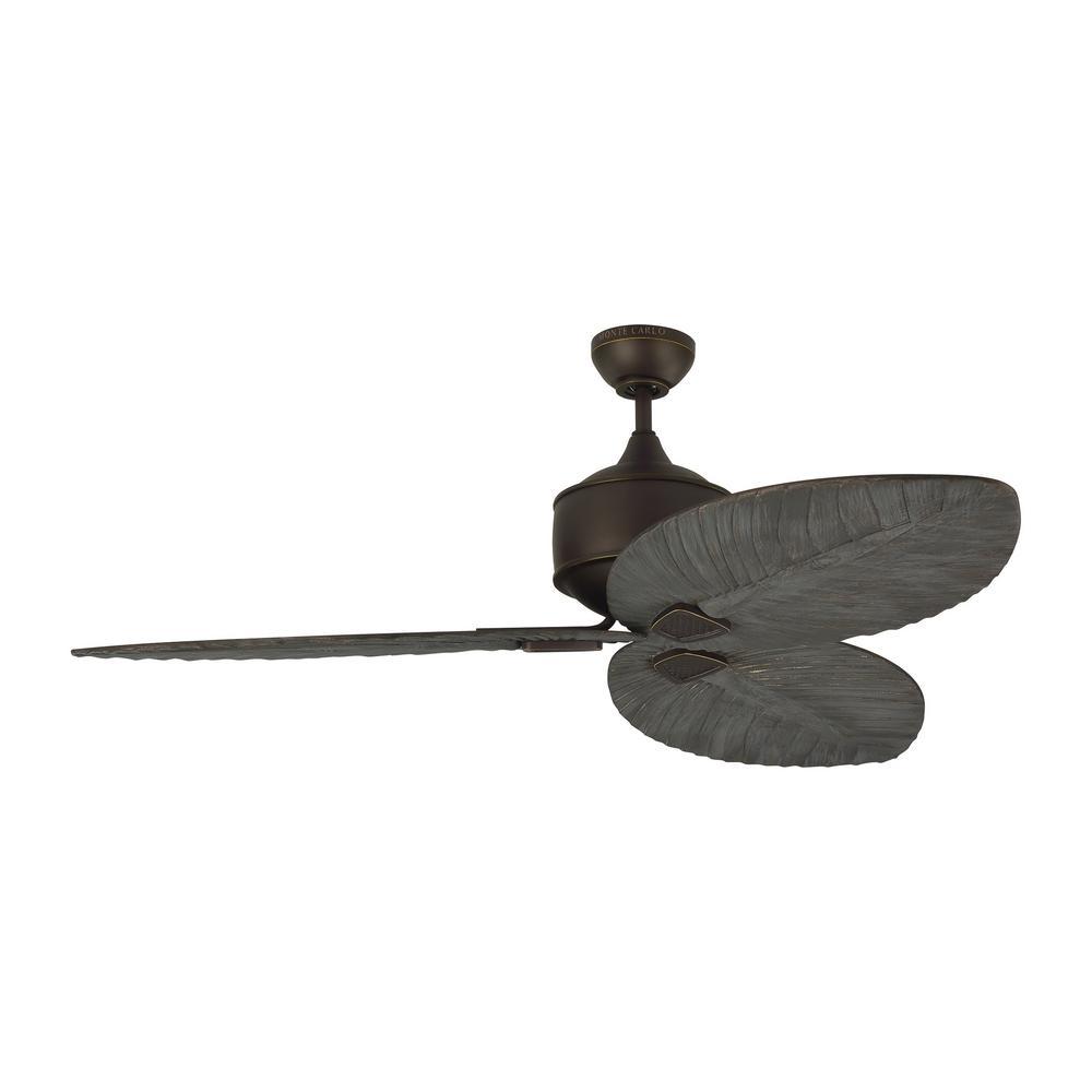 Delray 56 in. Indoor/Outdoor Roman Bronze Ceiling Fan with Dark Walnut Blades, DC Motor and Remote Control