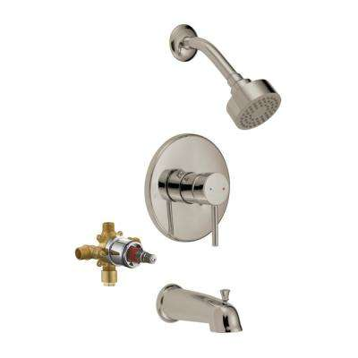 Single-Handle Tub and Shower Faucet in Satin Nickel (Valve Included)