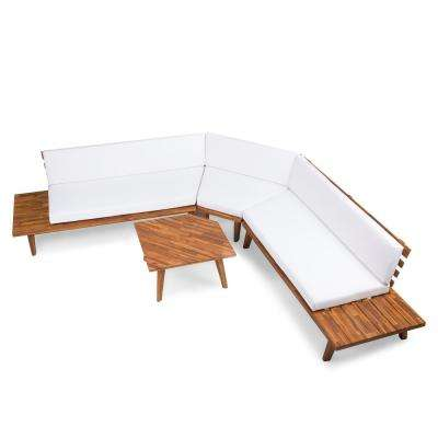 Paislee 4-Piece Wood Outdoor Sectional Set with White Cushions