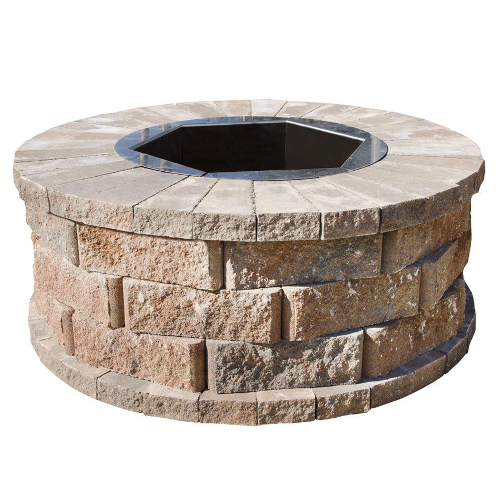 Pavestone 40 in. W x 16 in. H Rockwall Round Fire Pit Kit - Palomino