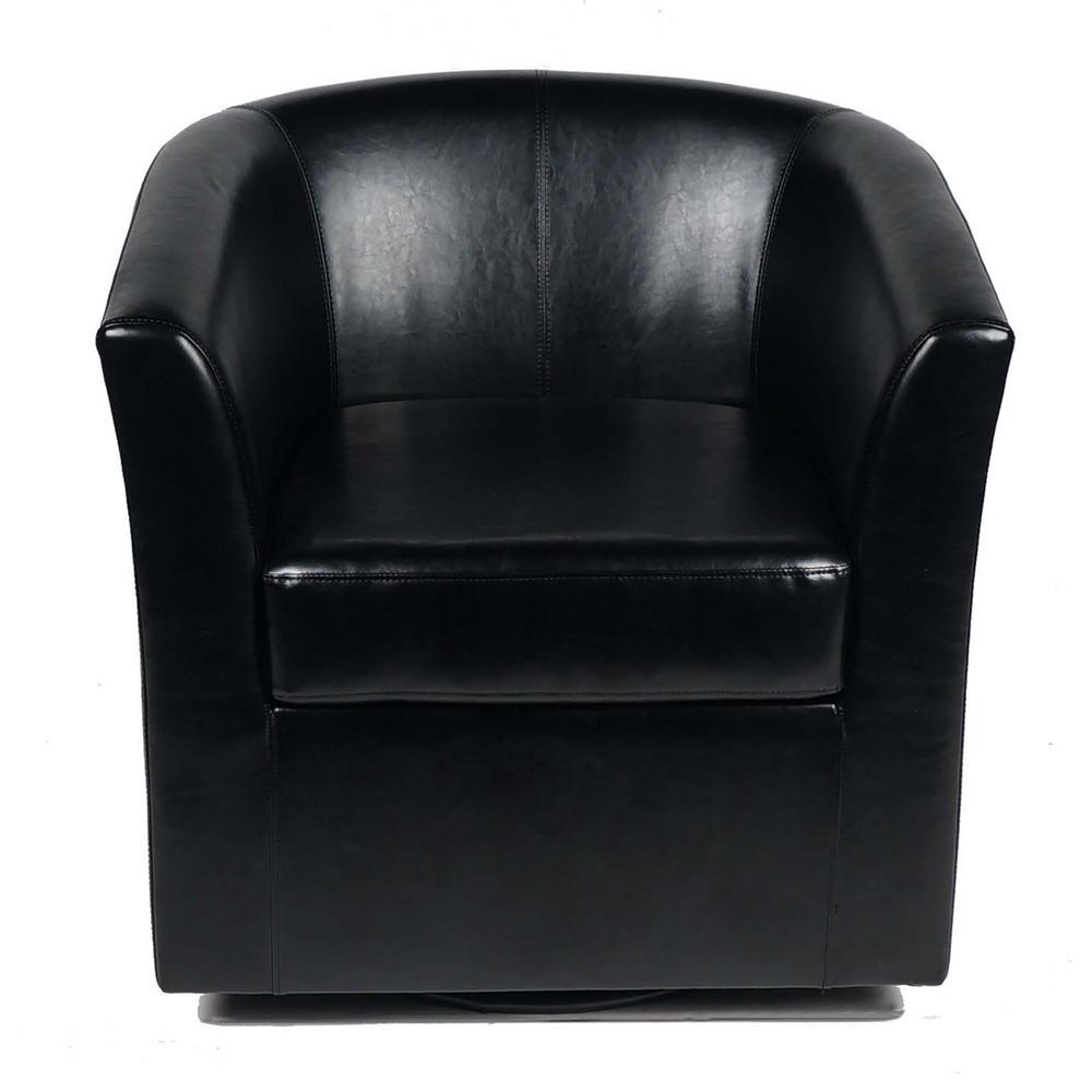 Daymian Black PU Swivel Club Chair