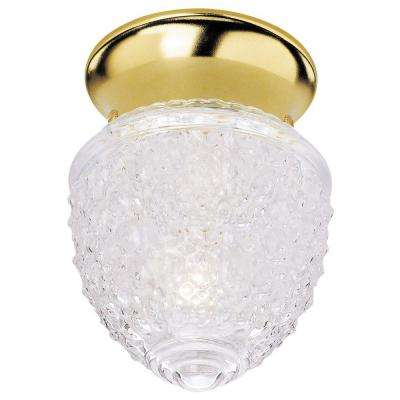 1-Light Ceiling Fixture Polished Brass Interior Flush-Mount with Clear Acorn Design Glass