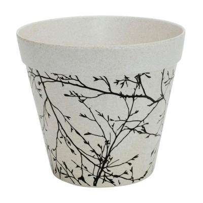 Eco 7.5 in. Antique White Natural Plant Fibers and Recycled Resin Planter