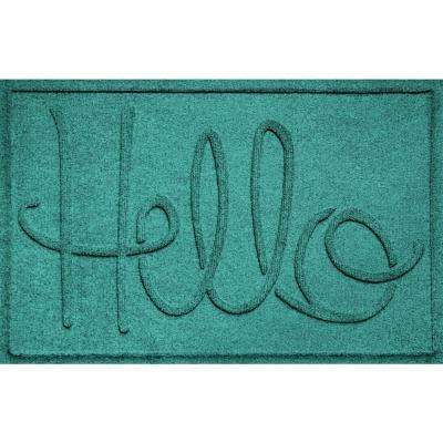 Simple Hello Aquamarine 24 in. x 36 in. Polypropylene Door Mat