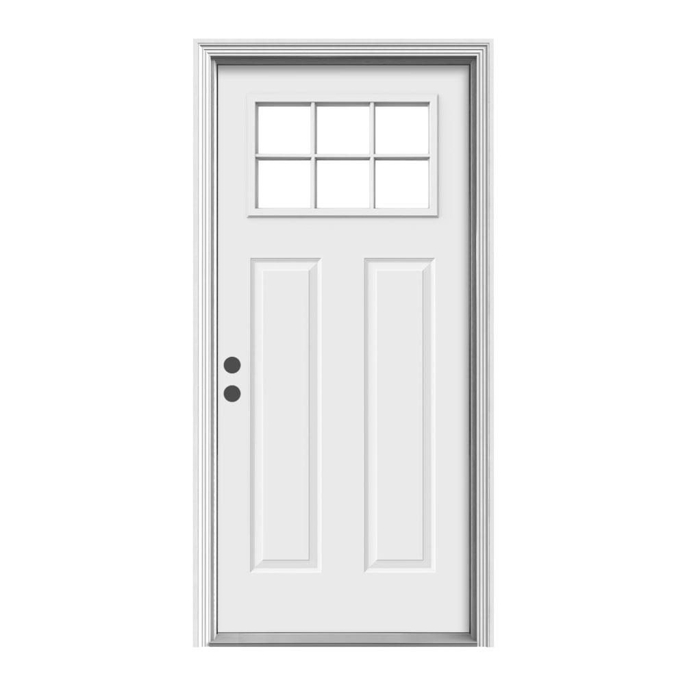 6 Lite Craftsman Primed Steel Prehung Right Hand Inswing Front Door W Brickmould N32877 The Home Depot