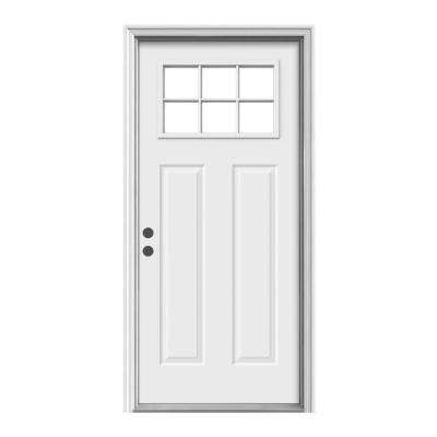 Premium 6 Lite Primed Steel Prehung Front Door with Brickmold