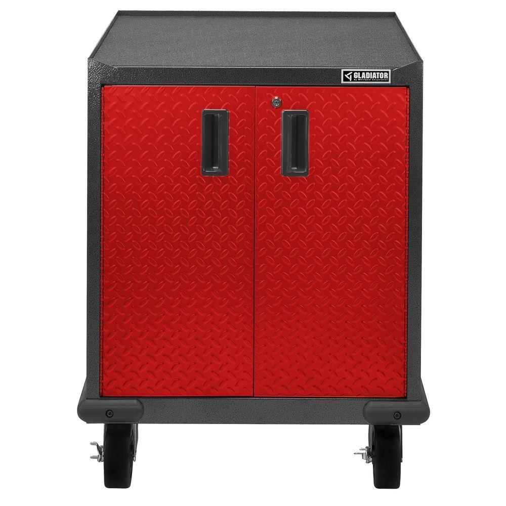 Premier Series Pre-Assembled 35 in. H x 28 in. W x 25 in. D Steel 2-Door Rolling Garage Cabinet in Racing Red Tread