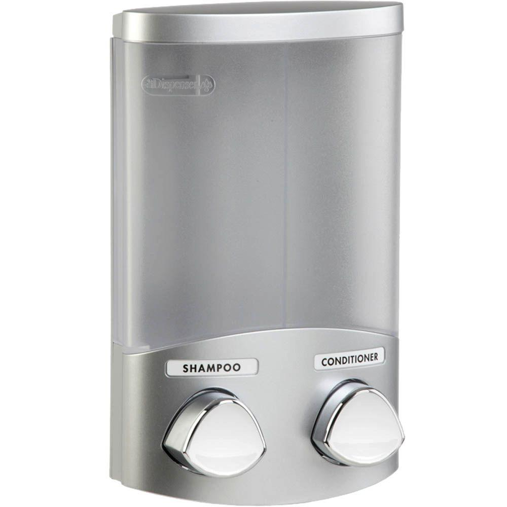 Better Living Products Duo 11 oz. Plastic Soap/Lotion Dispenser in Satin Silver