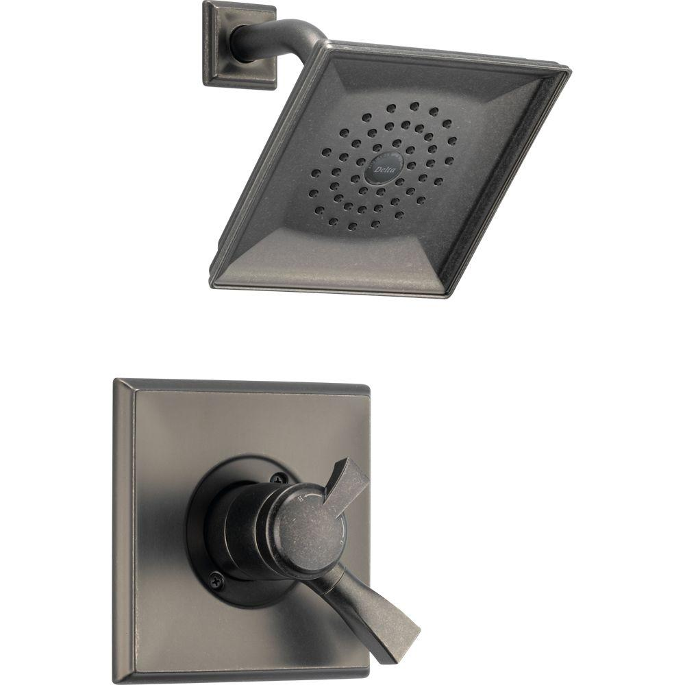 Delta Dryden Single-Handle 1-Spray Raincan Shower Only Faucet in Aged Pewter with Dual Function Cartridge-DISCONTINUED
