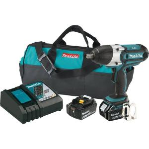 Makita 18-Volt LXT Lithium-Ion 1/2 inch Cordless High Torque Impact Wrench Kit with (2) Batteries 4.0Ah, Charger, Tool... by Makita