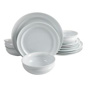 12-Piece Rim Pattern White Porcelain Dinnerware Set (Service for 4)