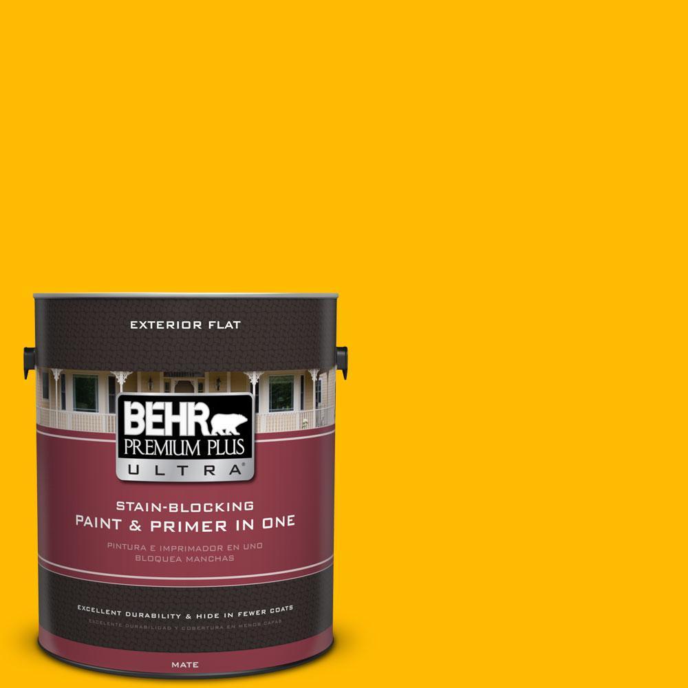 BEHR Premium Plus Ultra 1-gal. #340B-7 Empire Yellow Flat Exterior Paint