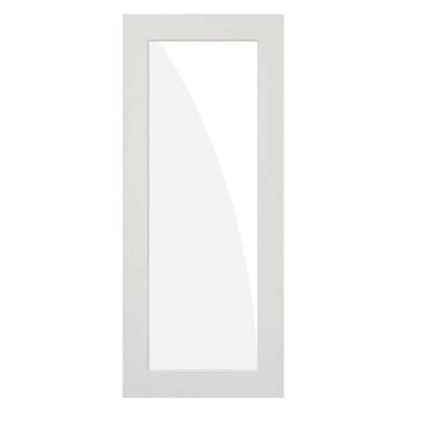 36 in. x 80 in. 1-Lite Clear Solid Hybrid Core MDF Primed Right-Hand Single Prehung Interior Door