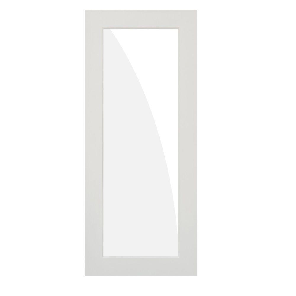 Krosswood Doors 36 in. x 96 in. Left-Hand 1-Lite Frost Satin Etch Solid Hybrid Core MDF Primed Single Prehung Interior Door
