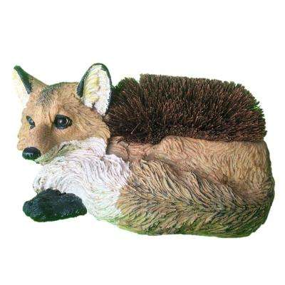14 in. Lying Fox Boot Brush with Replaceable Brush Home and Garden Statue