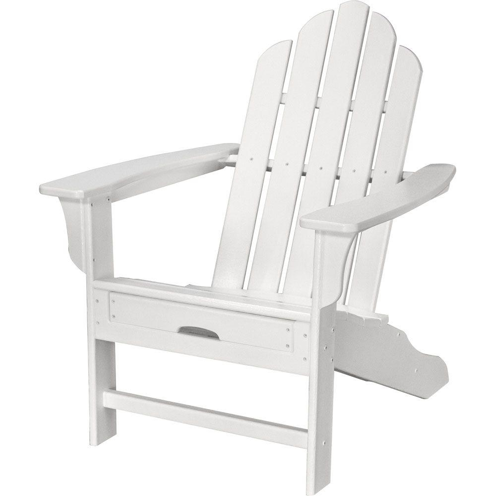 All-Weather Patio Adirondack Chair with Hide-Away Ottoman in White