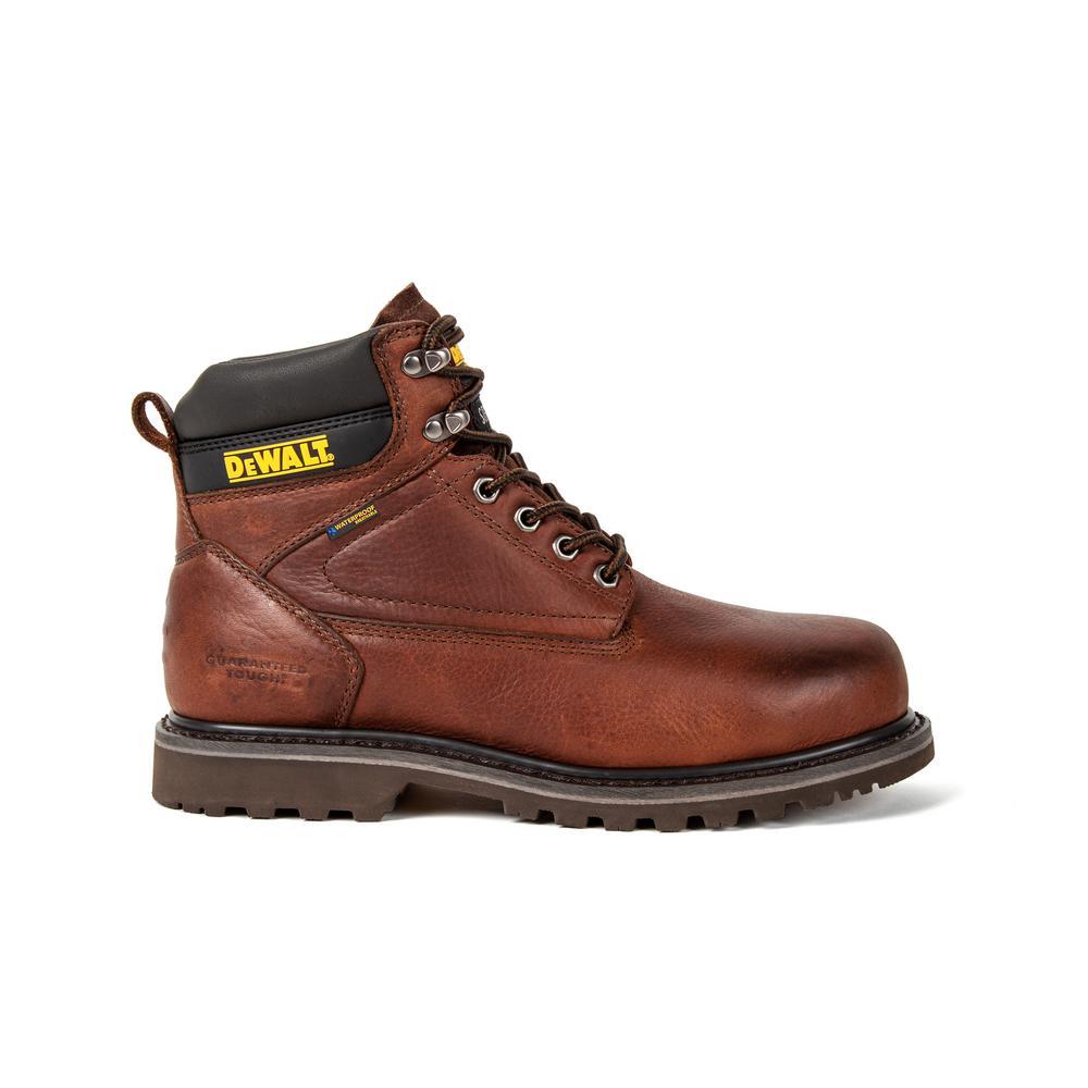 DEWALT Axle Men's Size 9.5(M) Brown Leather Steel Toe Waterproof 6 in. Work Boot