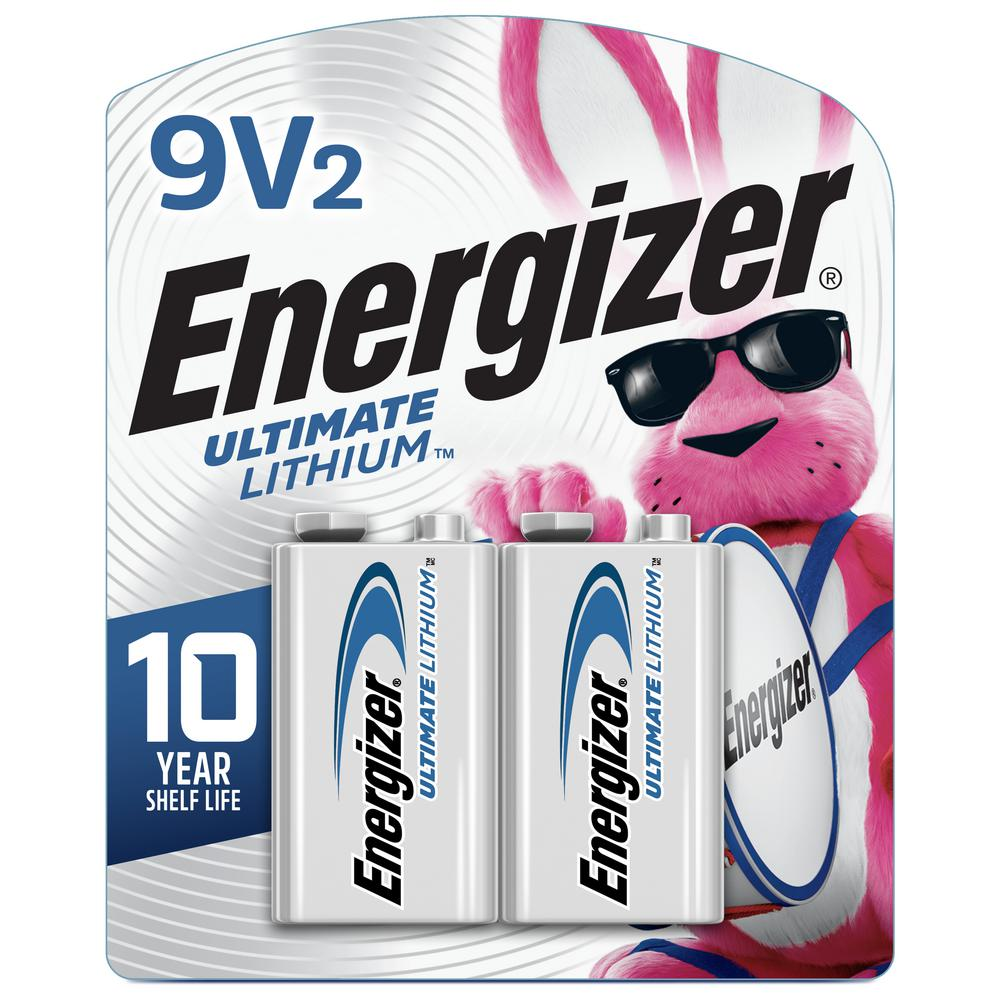 Energizer Ultimate Lithium 9V Batteries (2 Pack), Lithium 9 Volt Batteries