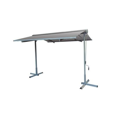 10 ft. FS Series Free Standing Semi-Cassette Manual Retractable Patio Awning in Canvas Gray