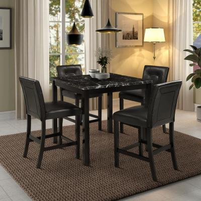 Black 5 Piece Faux Marble Top Counter Height Dining Set
