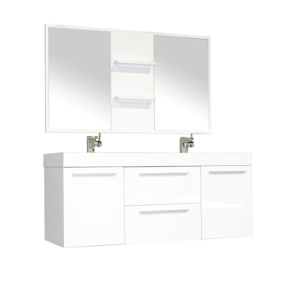 The Modern 54.25 in. W x 18.75 in. D Bath Vanity in White with Acrylic Vanity Top in White with White Basin and Mirror