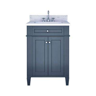 Samantha 24 in. W x 22 in. D Bath Vanity in Gray with Marble Vanity Top in White with White Basin