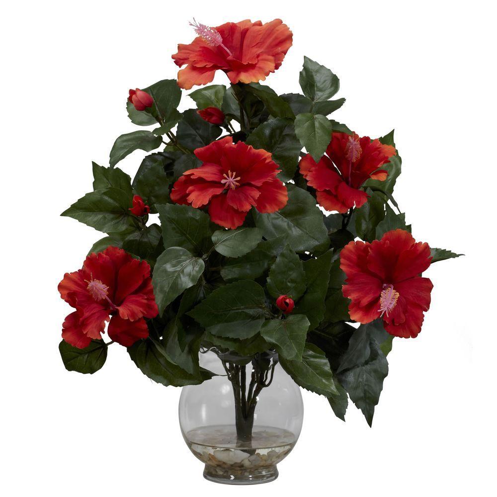 17 in. H Red Hibiscus with Fluted Vase Silk Flower Arrangement