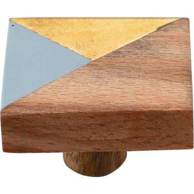 Ventura 1-1/2 in. Grey and Wood Cabinet Knob