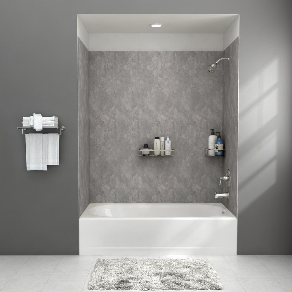 Passage 32 in. x 60 in. 4-Piece Glue-Up Alcove Bath Wall in Gray Concrete