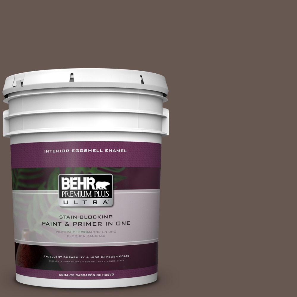 5 gal. #HDC-FL14-10 Pine Cone Brown Eggshell Enamel Interior Paint