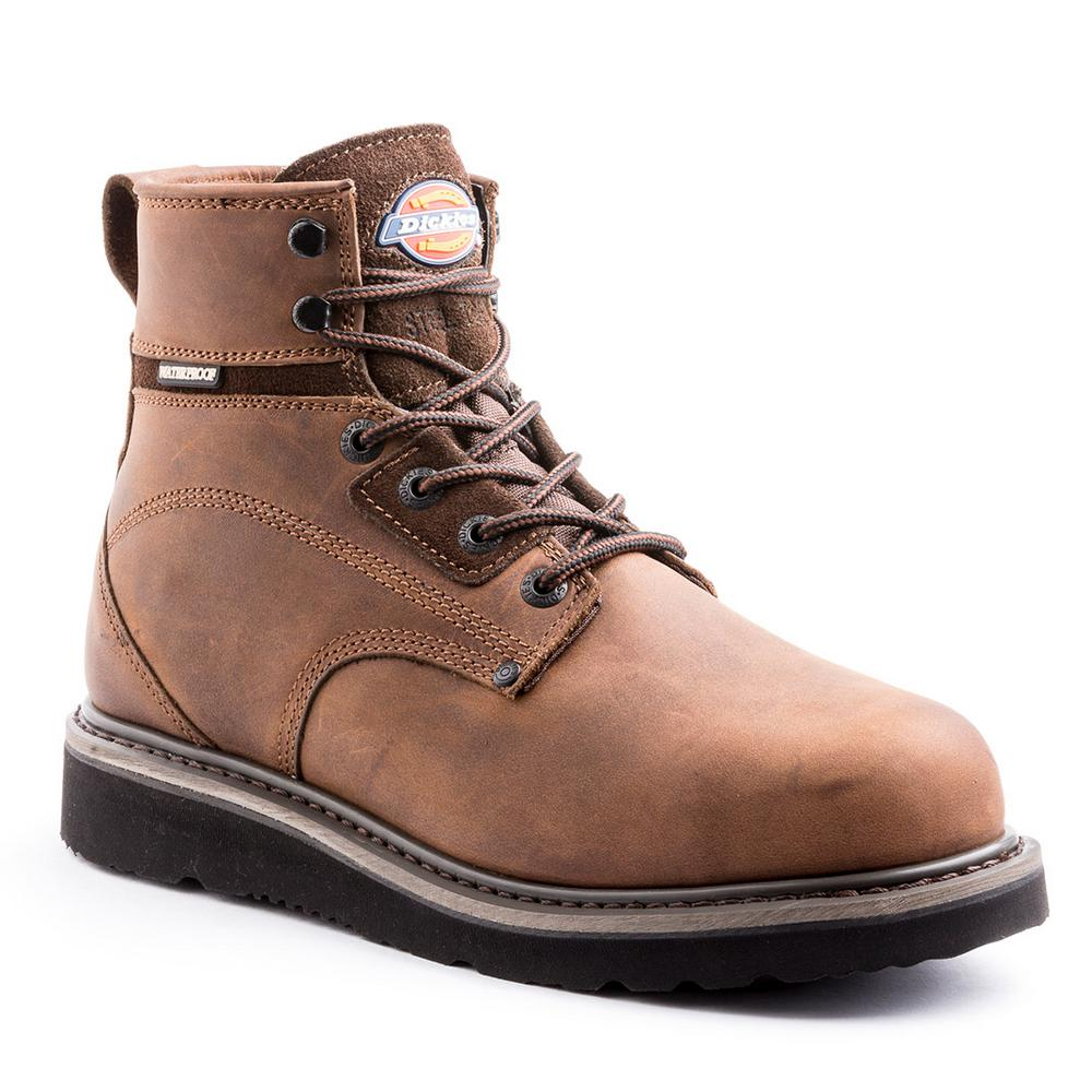 663cbec27fa Dickies Cannon Men Size 7.5 Medium Brown Steel Toe Leather Work Boot
