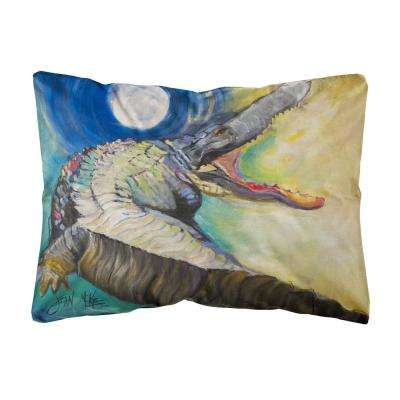 12 in. x 16 in. Multi Color Lumbar Outdoor Throw Pillow Alligator