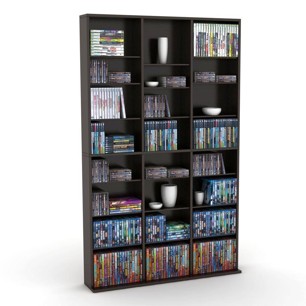 Espresso Brown Media Storage Shelf Standing Book Unit Rack Movie Tower  Organizer