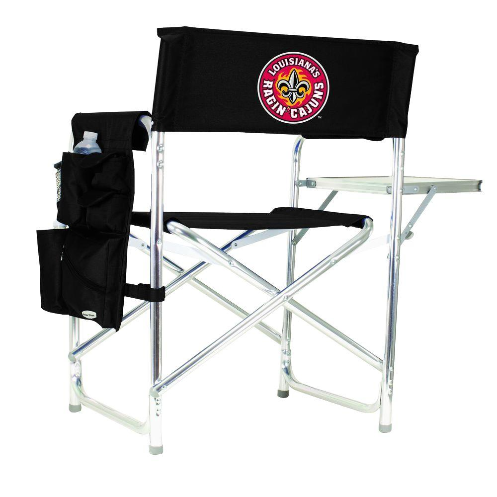 Picnic Time University of Louisiana-Lafayette Black Sports Chair with Digital Logo
