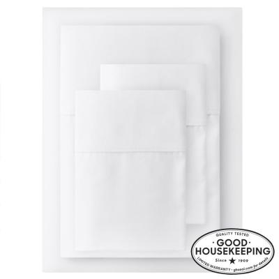 400 Thread Count Performance Cotton Sateen 4-Piece Full Sheet Set in White