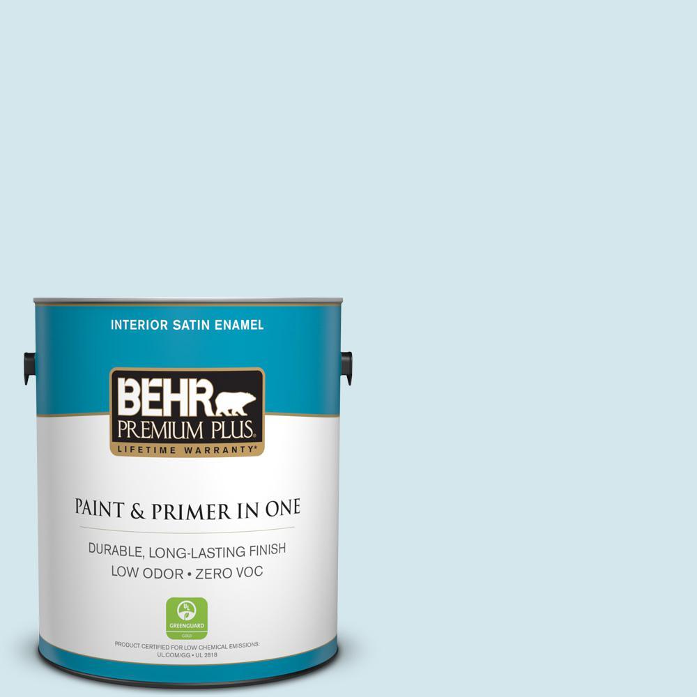 BEHR Premium Plus 1-gal. #520E-1 Coastal Mist Zero VOC Satin Enamel Interior Paint