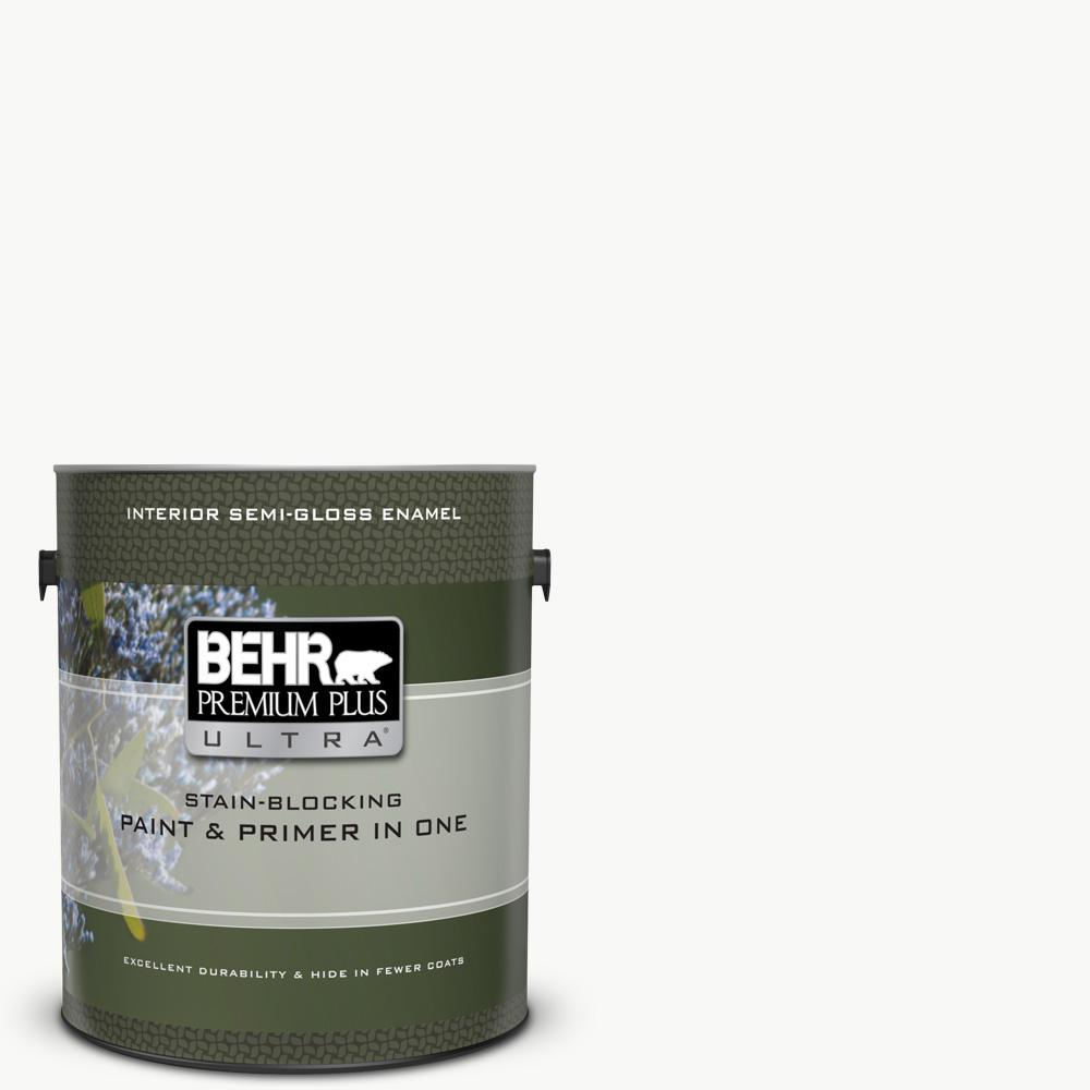 BEHR Premium Plus Ultra 1 gal. Ultra Pure White Semi-Gloss Enamel Interior Paint and Primer in One