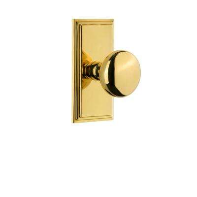 Carre Plate 2-3/8 in. Backset Lifetime Brass Passage Hall/Closet with Fifth Avenue Door Knob