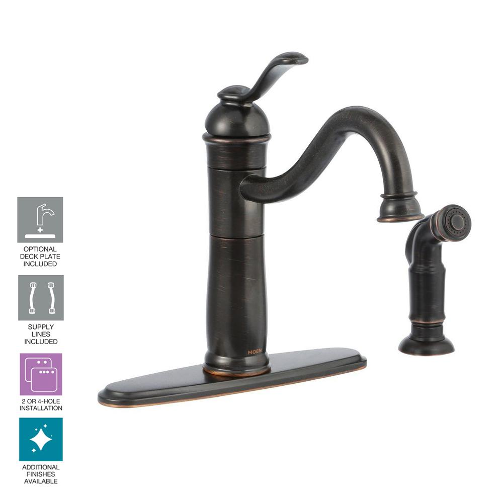 Moen Walden Single Handle Standard Kitchen Faucet With Side Sprayer