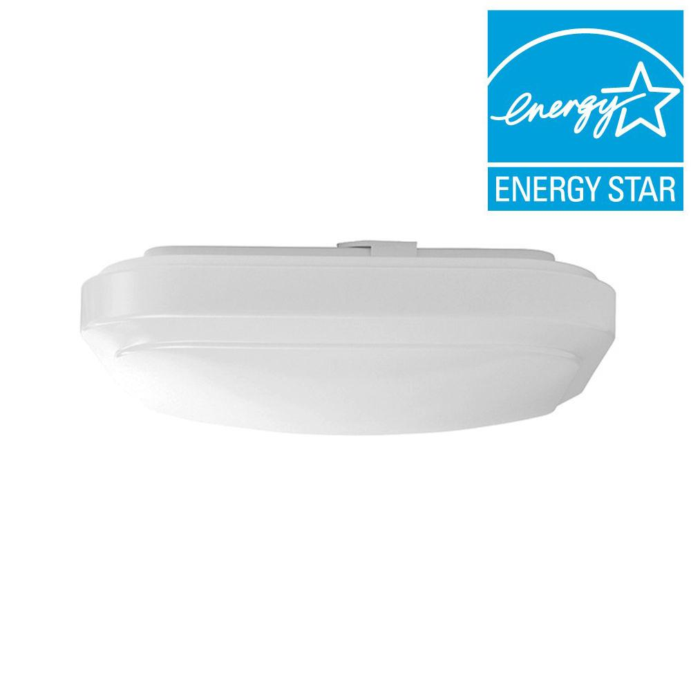 Hampton Bay 12 in. Bright/Cool White Square LED Flushmount Ceiling Light Fixture Dimmable