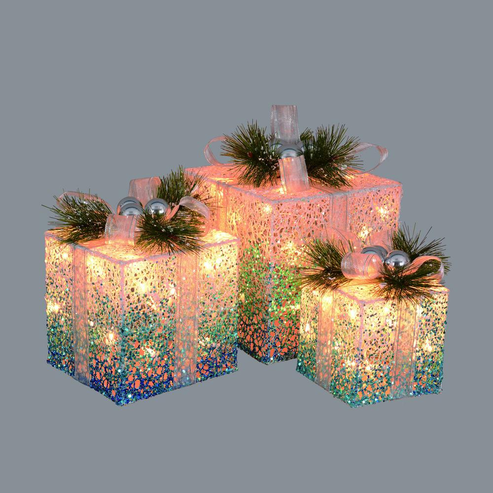 christmas blue and white decorative lighted gift boxes outdoor decorations 3 - Blue And White Outdoor Christmas Decorations