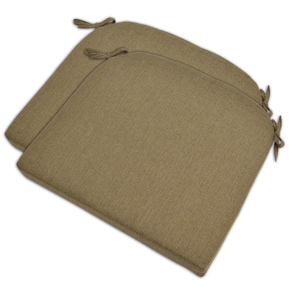 Hampton Bay Bark Textured Outdoor Seat Pad (2-Pack)