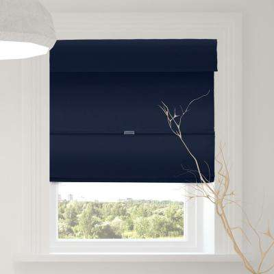 Magnetic Roman Shade Commordore Blue Polyester Cordless Roman Shade - 31 in. W X 64 in. L