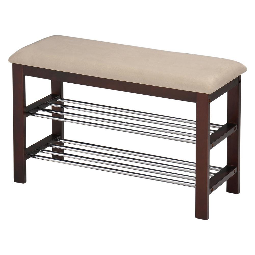 Walnut and Beige Shoe Storage Rack Bench with Vinyl Cushion
