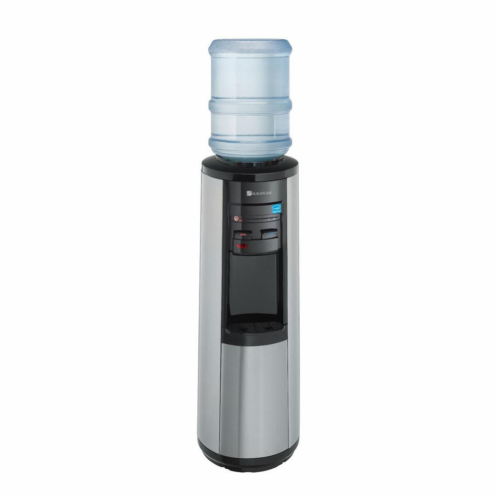 Hot Room And Cold Water Dispenser In Black Stainless Steel