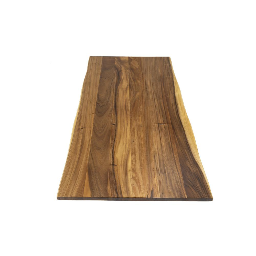 Hardwood Reflections 6 ft. L x 3 ft. 2 in. D x 1.5 in. T Island Butcher Block Countertop in Oiled Acacia with Live Edge