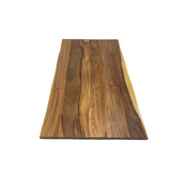 Acacia 6 ft. L x 38 in. D x 1.5 in. T Butcher Block Island Countertop in Oiled Stain with Live Edge