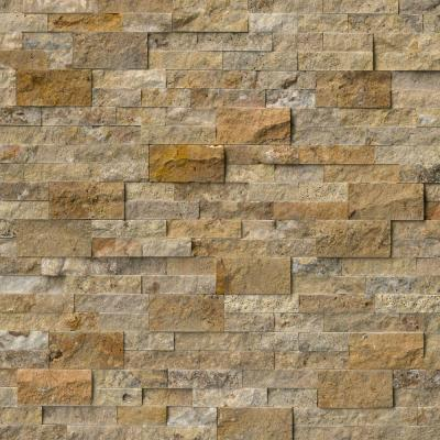 Take Home Tile Sample - Picasso Ledger Panel 6 in. x 24 in. Natural Travertine Wall Tile - 6 in. x 6 in